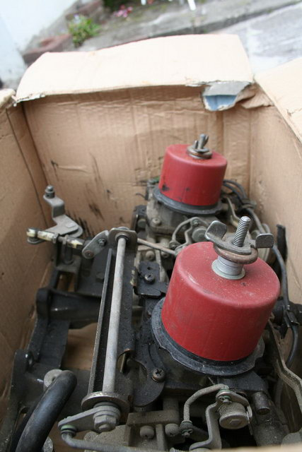 2T-B double carburetor set from the side