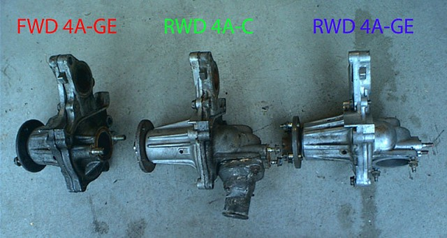 4AGE RWD/FWD and 4AC waterpump differences