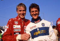 Hakkinen and Schumacher at 1990 Macau GP and still smiling, probably before crash