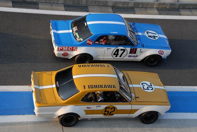 Two vintage Nissan Skyline KPGC10 racecars