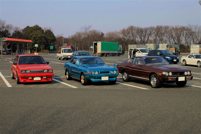 Red Carina GT-T TA63 and two Celicas