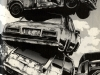 Various cars in a junkyard