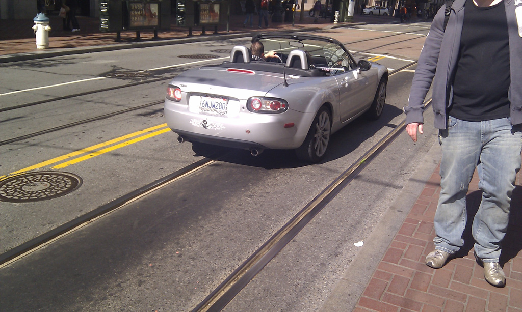 Silver Mazda MX5 NC in San Francisco