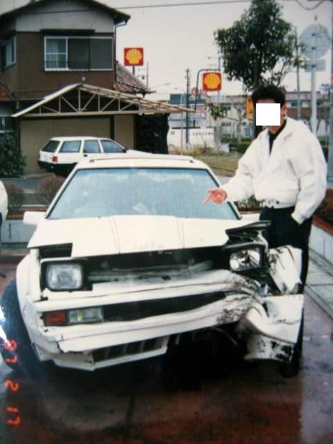 Crashed Celica XX in 1987