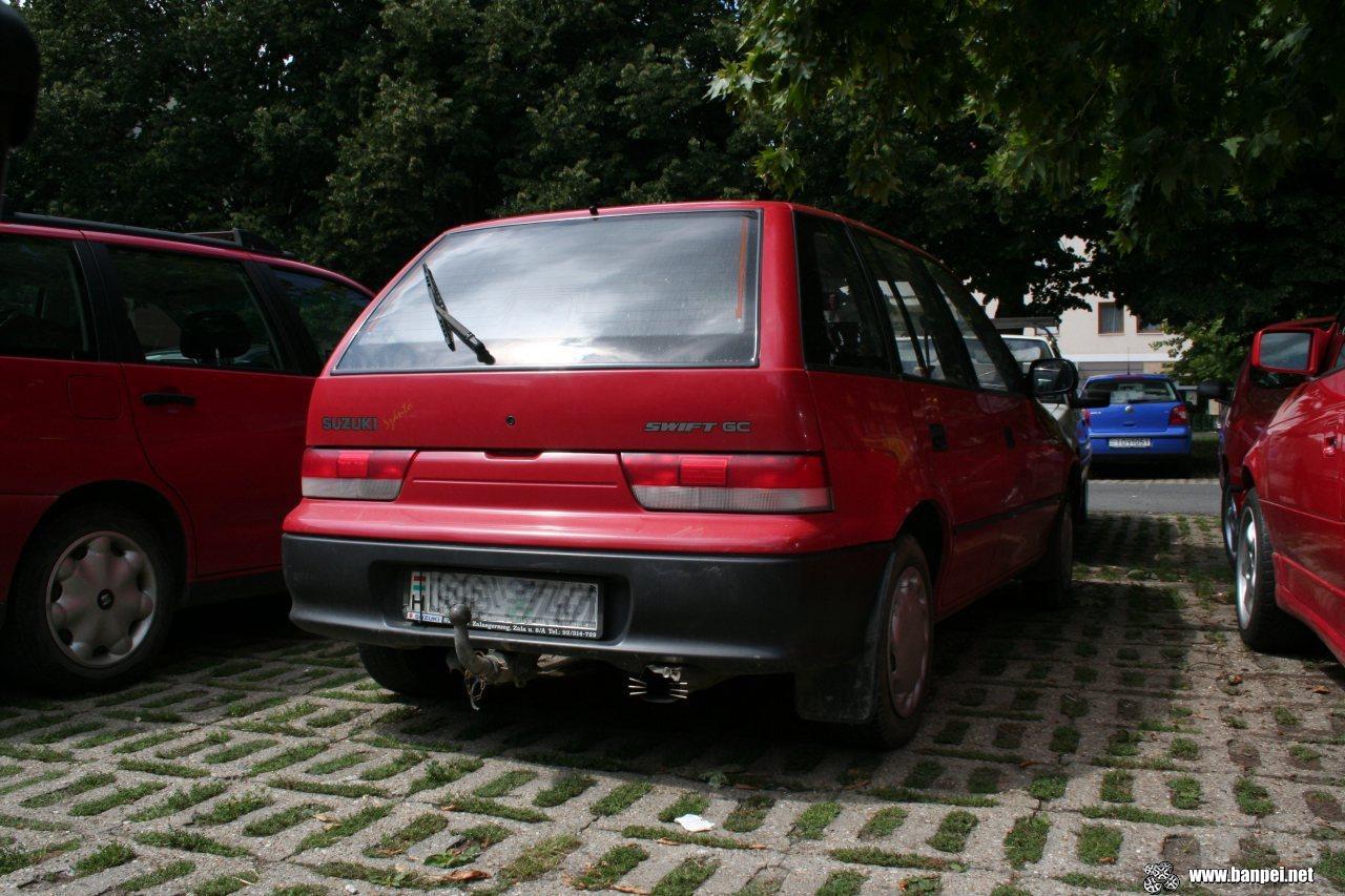Hello Kitty exhaust tip on Hungarian Suzuki Swift (Cultus)