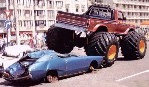 Monstertruck crushing a Skyline C110