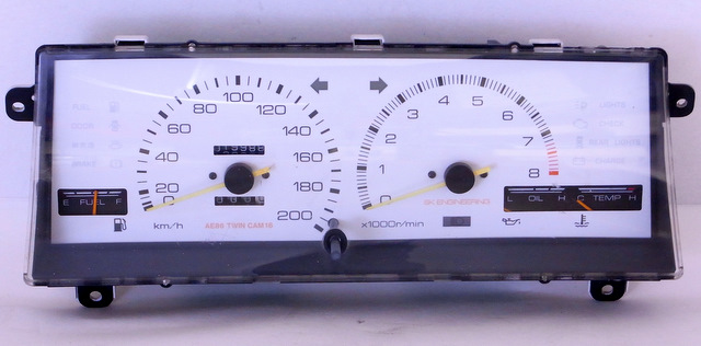 AE86 Trivia SK Engineering white gauge cluster