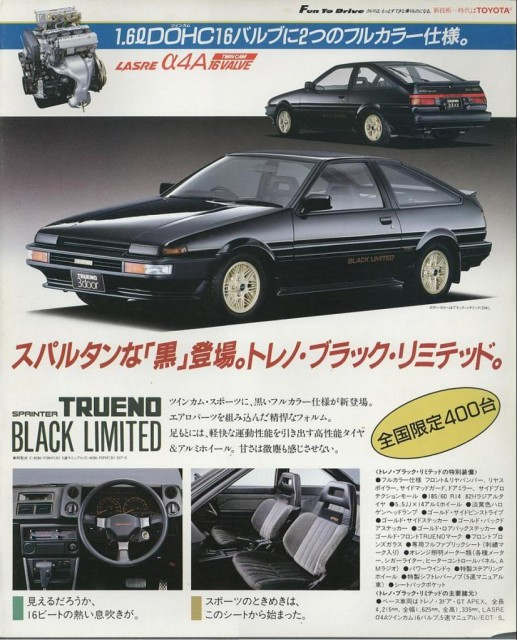 Toyota Sprinter Trueno AE86 Black Limited
