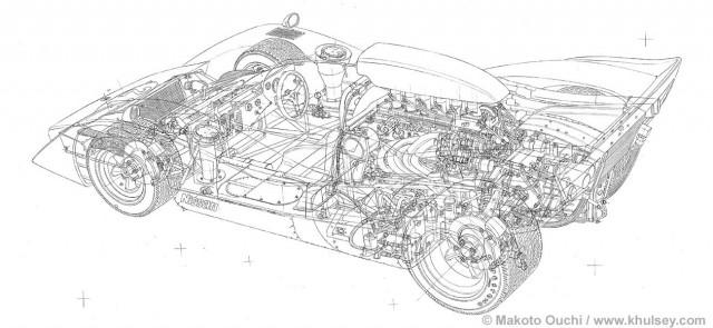 Cutaway drawing Makoto Ouchi Nissan R382