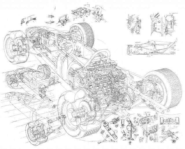 Honda-ra272 Cutaway Drawing Yoshihiro Inomoto linedrawing