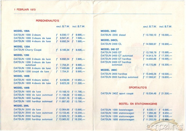 Datsun pricelist from 1973