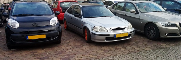 Down on the Street: Honda Civic EK with red rims