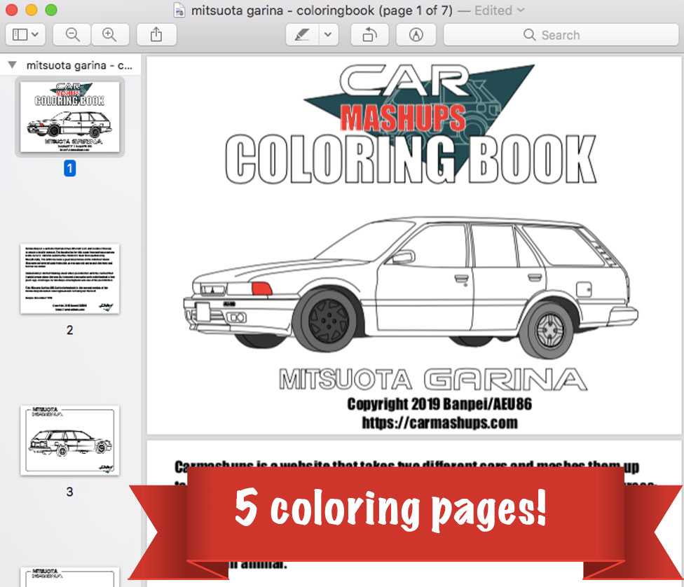 Car Mashups coloring book - Mitsuota Garina AMG Surf