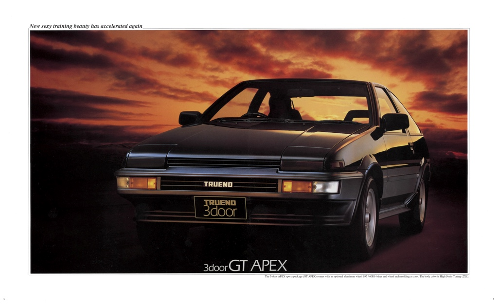 The facelifted / kouki Toyota Sprinter Trueno AE86 GT Apex