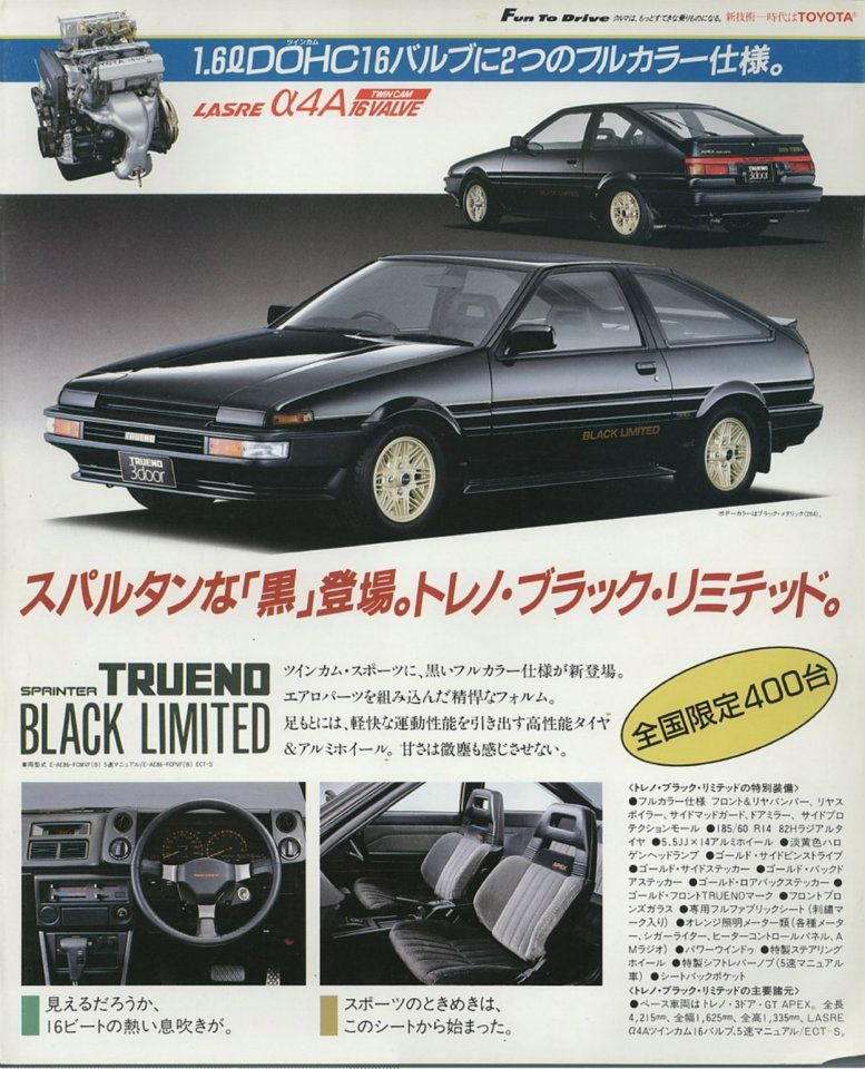 The Toyota Sprinter Trueno AE86 Black Limited featured the Sports Package by default