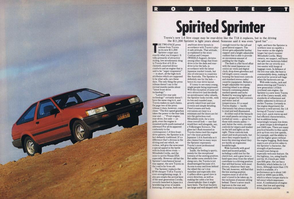 The Australian Toyota Corolla Sprinter AE86 didn't get any Sports Package parts