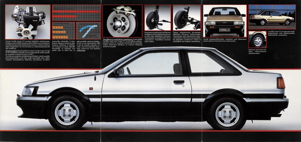 The Finnish pre-facelift / zenki Toyota Corolla AE86 only got a front spoiler and mud flaps