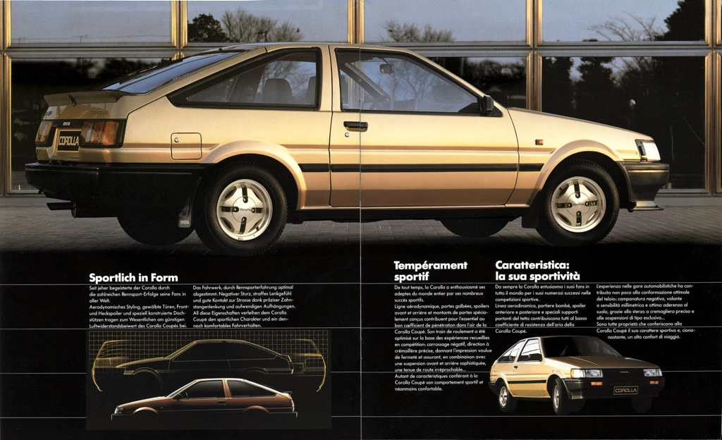 The Swiss pre-facelift Toyota Corolla SR AE86 did get a set of spoilers